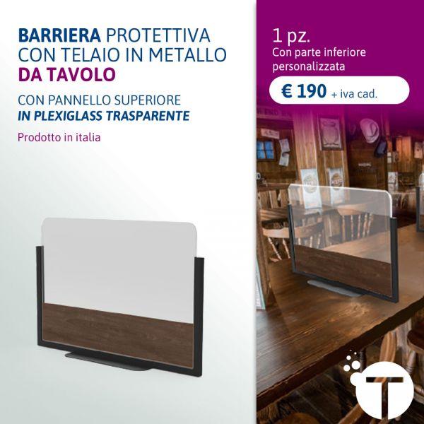 BARRIERA PROTETTIVA  CON TELAIO IN METALLO DA TAVOLO