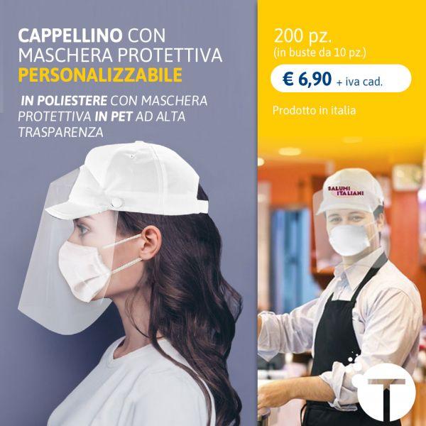 CAPPELLINO CON MASCHERA PROTETTIVA  PERSONALIZZABILE